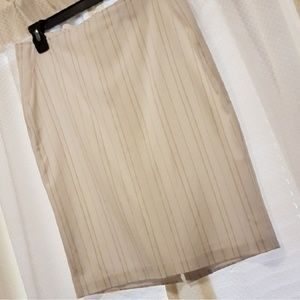 White with Brown Pinstripes Skirt